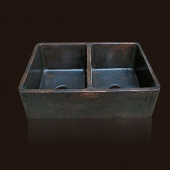Radiance Farmhouse Copper Sink : Dark Flame